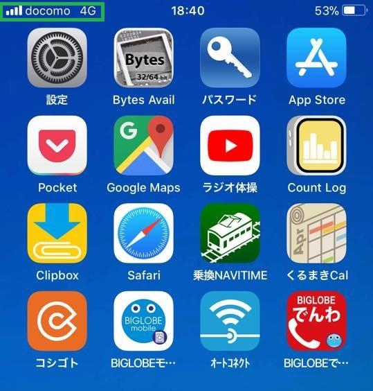 iPhoneでBIGLOBEモバイルのMNP開通手続き画面で無事にdocomo4Gと表示!