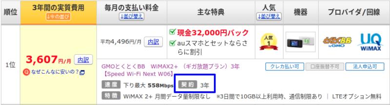 WiMAX3年契約は現金キャッシュバックがあるも違約金が高額で料金体系がわかりにく